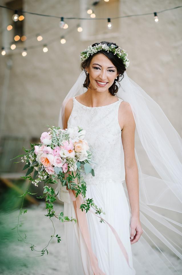 Wedding Bouquet, Flower Crown, Train