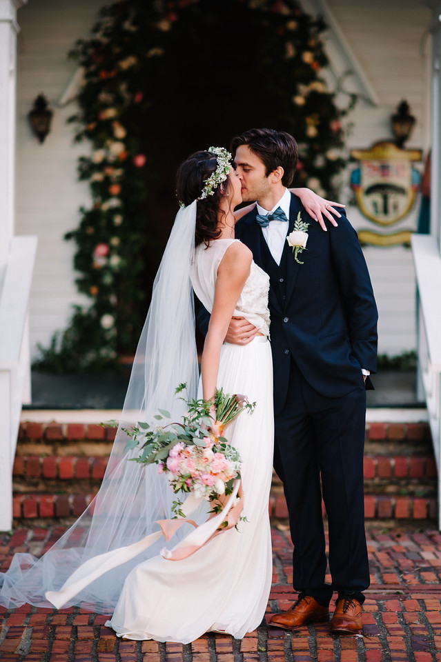 Wedding Bouquet, Flower Crown and Boutonniere
