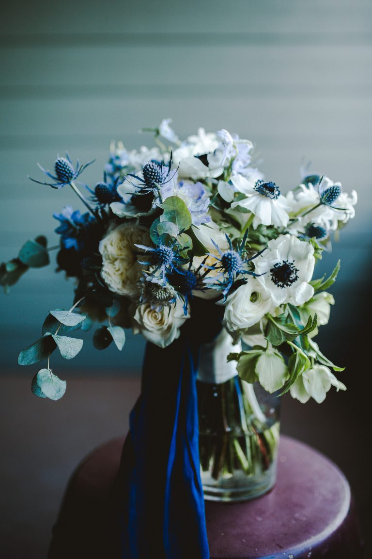 Grand Hotel Point Clear Alabama ballroom wedding blue and white wedding flowers morning suit bride bouquet anemones silk ribbon