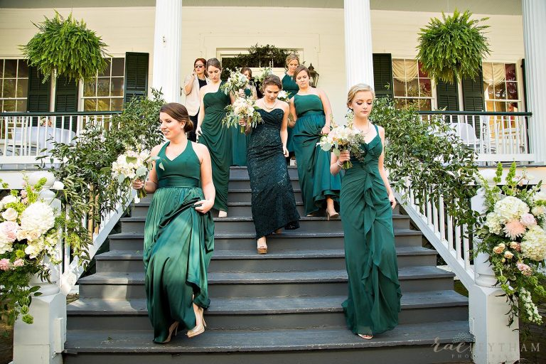 bridesmaid bouquets bride bouquet white wedding flowers green bridesmaid dresses Springhill College Stewartfield House St.Joseph