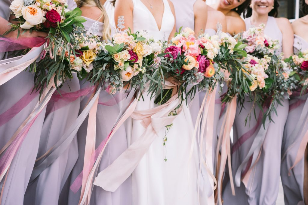 Bright Jewel Tones Bridesmaid Bouquets Taupe Dresses