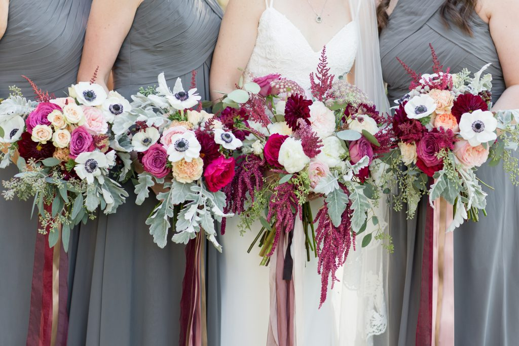Burgundy Maroon Bridesmaid Bouquets Flowers Gray Dresses