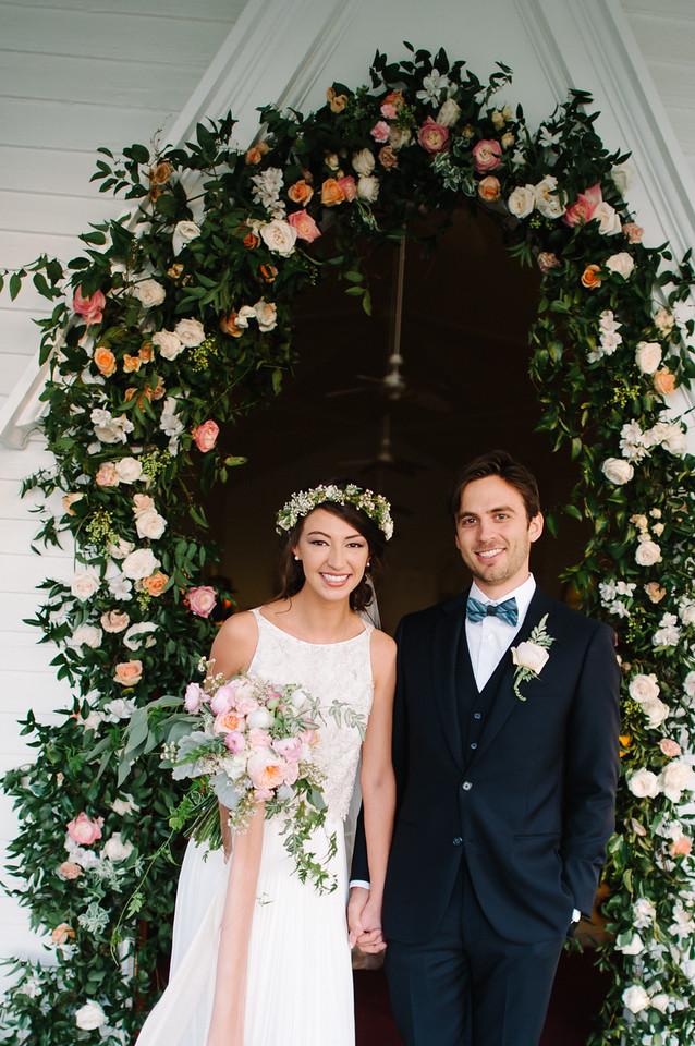 bride bouquet blush peach wedding flowers Sacred Heart Chapel Point Clear Alabama Mobile Bay Garden Style flower garland floral boho head wreath