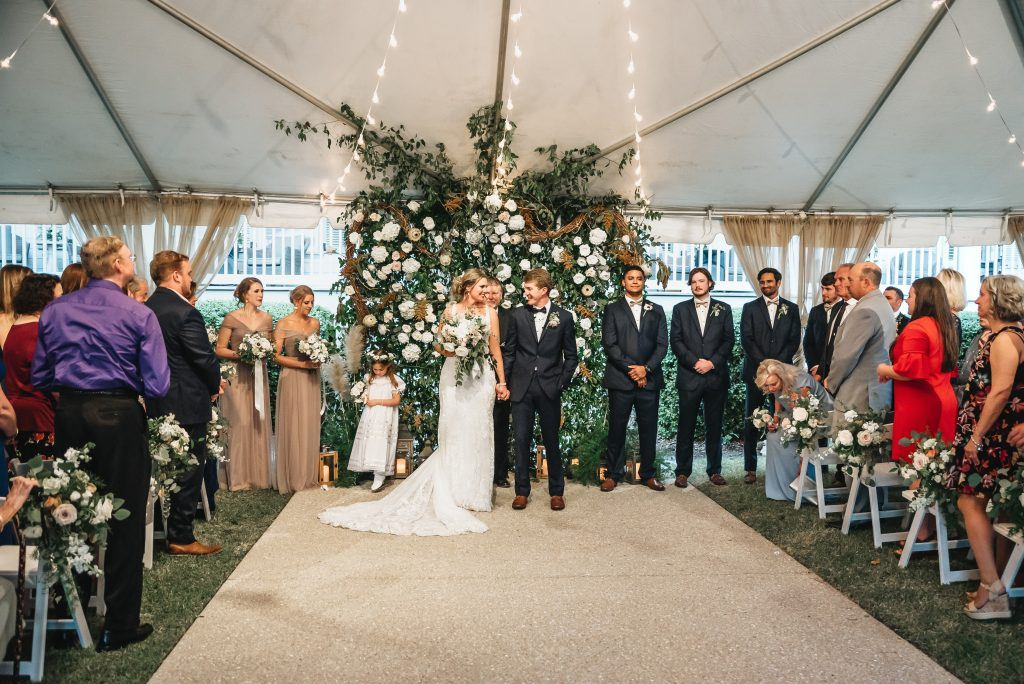 Wedding Ceremony White Flowers Neutral Accents Wooden Elements
