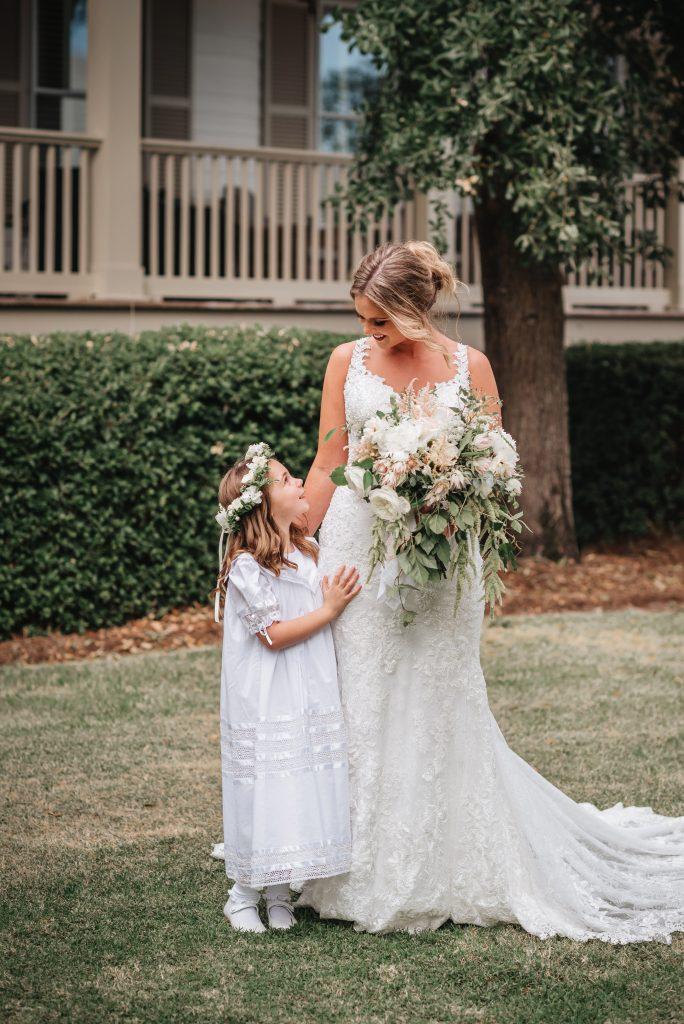 bride bridal bouquet flower girl white wedding flowers