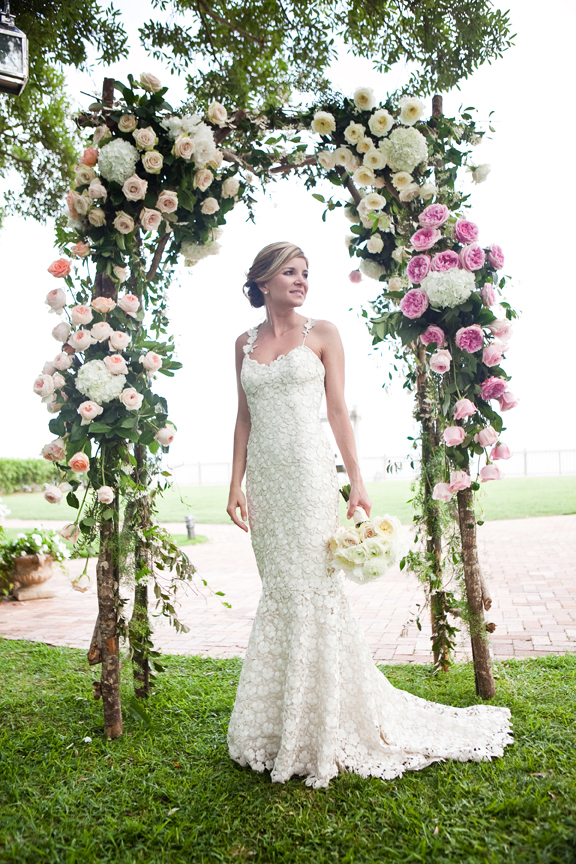 garden roses wedding arbor outside ceremony wedding style bride bouquet Mobile Bay Alabama Grand Hotel