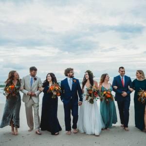Fall Beach Wedding Bright Fall Flowers Bridesmaids BoHo Bride Floewer Crown